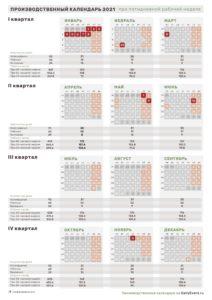 Вертикальный календарь 2021, пятидневка